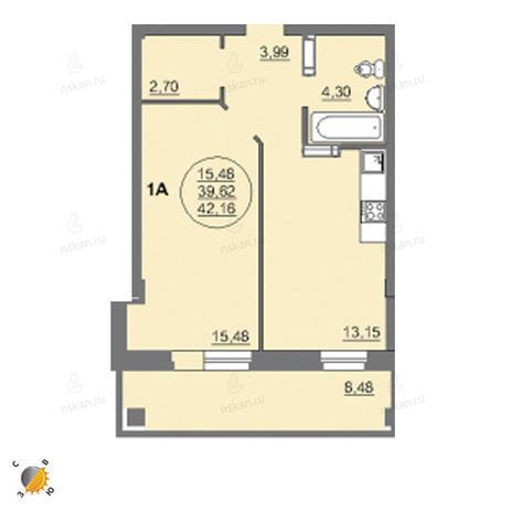 Вариант №2461, 1-комнатная квартира в жилом комплексе