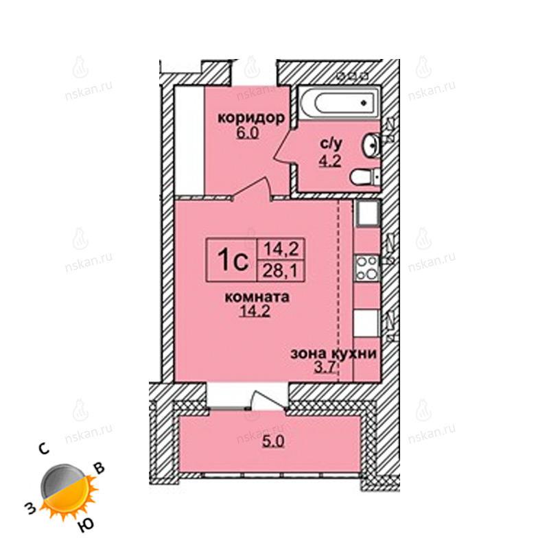 Планировка 1-комн. студия площадью 28.1 м<sup>2</sup> в ЖК Северная корона