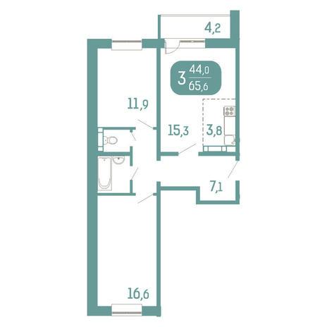 Вариант №2911, 3-комнатная квартира в жилом комплексе Аквамарин
