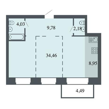 Вариант №4433, 3-комнатная квартира в жилом комплексе Спектр