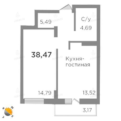 Вариант №1783, 2-комнатная квартира в жилом комплексе Ясный берег
