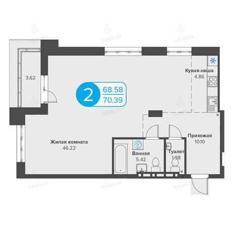 Вариант №2816, 2-комнатная квартира в жилом комплексе Огни Сибири