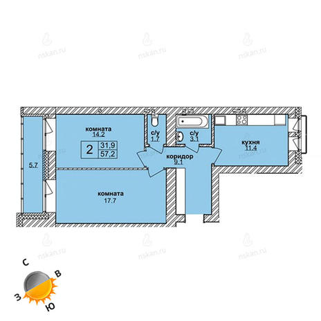 Вариант №1605, 2-комнатная квартира в жилом комплексе