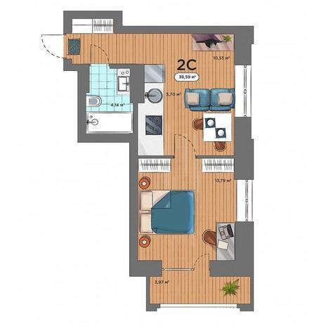 Вариант №5167, 2-комнатная квартира в жилом комплексе Ясный берег