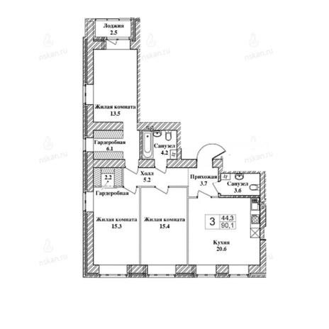 Вариант №2463, 3-комнатная квартира в жилом комплексе