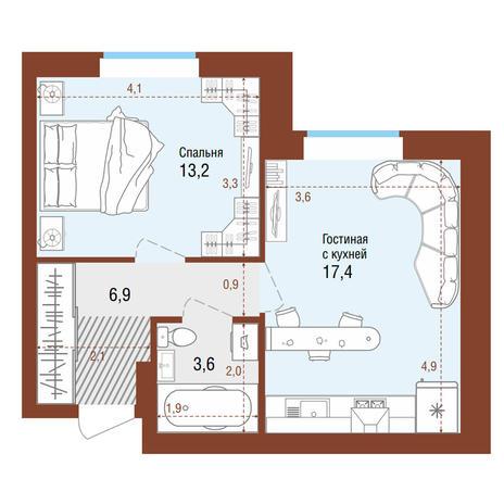 Вариант №4201, 2-комнатная квартира в жилом комплексе
