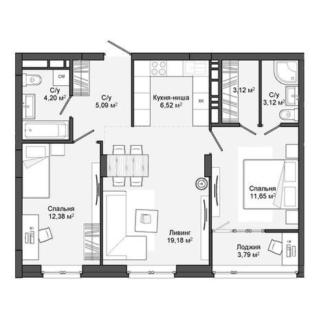 Вариант №3051, 3-комнатная квартира в жилом комплексе