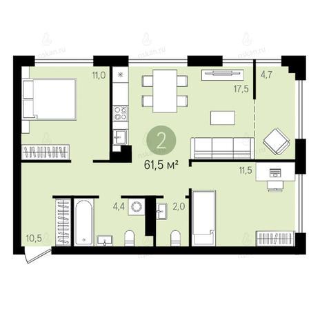 Вариант №2619, 3-комнатная квартира в жилом комплексе Квартал на Никитина