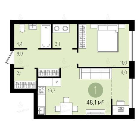 Вариант №2612, 2-комнатная квартира в жилом комплексе Квартал на Никитина