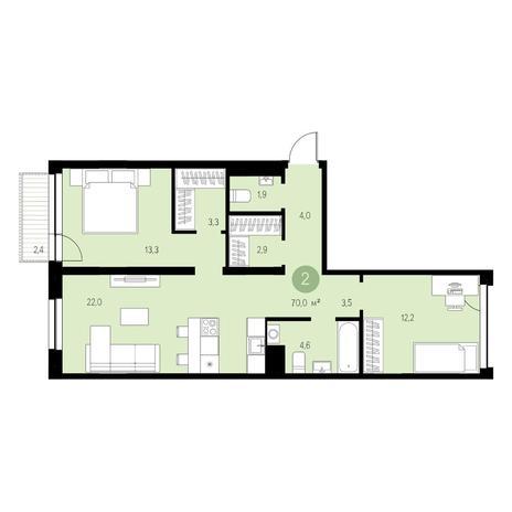 Вариант №4623, 3-комнатная квартира в жилом комплексе