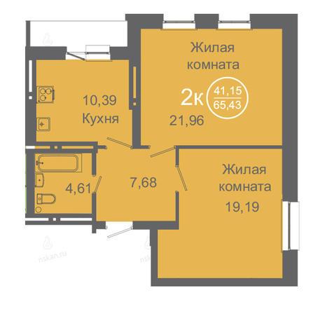 Вариант №2424, 2-комнатная квартира в жилом комплексе Дианит
