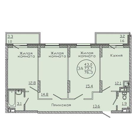 Вариант №3187, 3-комнатная квартира в жилом комплексе