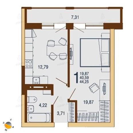 Вариант №1815, 1-комнатная квартира в жилом комплексе На Доватора