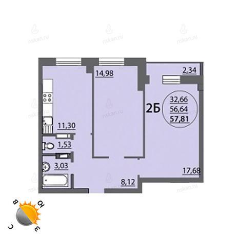 Вариант №766, 2-комнатная квартира в жилом комплексе Аврора