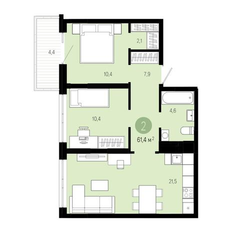 Вариант №4808, 3-комнатная квартира в жилом комплексе Европейский Берег