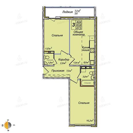 Вариант №2384, 3-комнатная квартира в жилом комплексе Ключевой