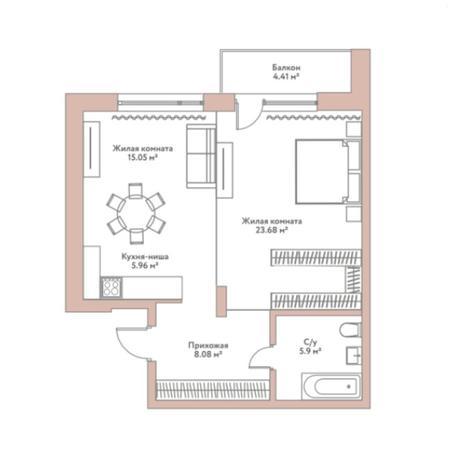 Вариант №5966, 2-комнатная квартира в жилом комплексе