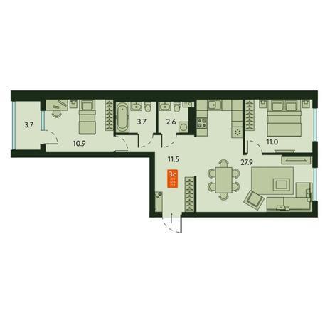 Вариант №6675, 3-комнатная квартира в жилом комплексе