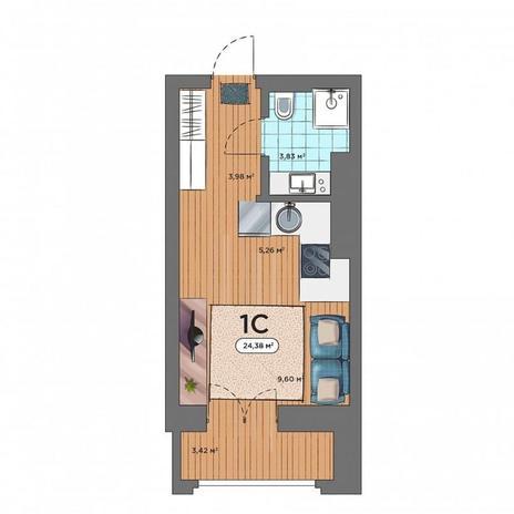Вариант №5160, 1-комнатная квартира в жилом комплексе