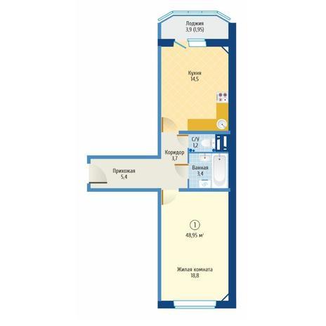Вариант №6077, 1-комнатная квартира в жилом комплексе