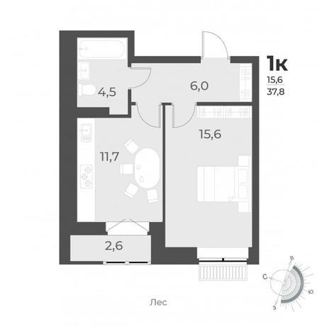Вариант №6294, 1-комнатная квартира в жилом комплексе