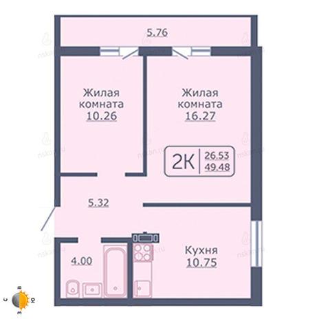 Вариант №2056, 2-комнатная квартира в жилом комплексе Радуга Сибири