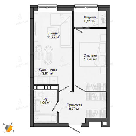 Вариант №2134, 2-комнатная квартира в жилом комплексе
