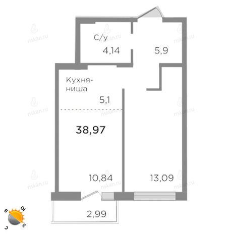 Вариант №1754, 2-комнатная квартира в жилом комплексе Ясный берег