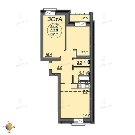 Вариант №2240, 3-комнатная квартира в жилом комплексе Свобода