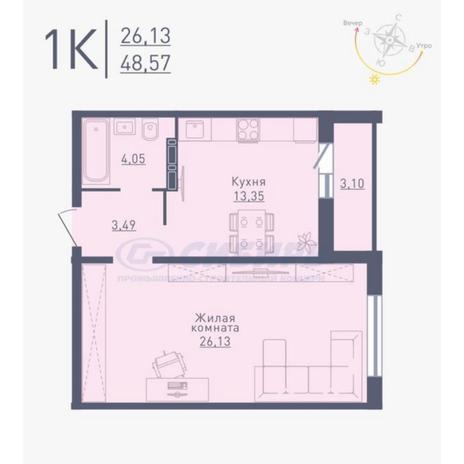 Вариант №4782, 1-комнатная квартира в жилом комплексе