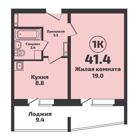 Вариант №5729, 1-комнатная квартира в жилом комплексе
