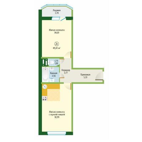 Вариант №6096, 2-комнатная квартира в жилом комплексе