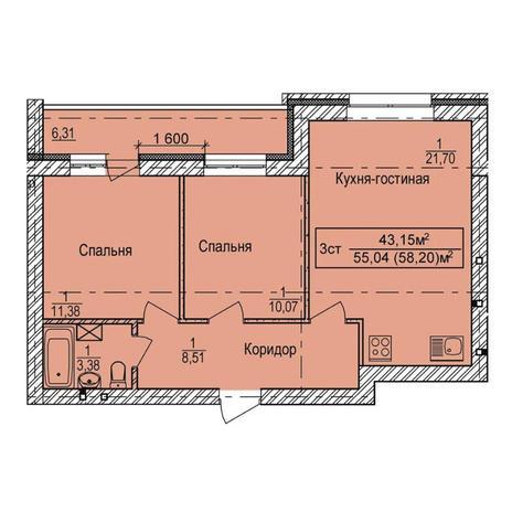 Вариант №3990, 3-комнатная квартира в жилом комплексе