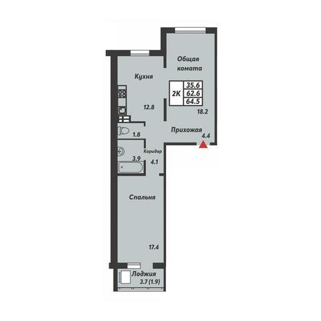 Вариант №3702, 2-комнатная квартира в жилом комплексе