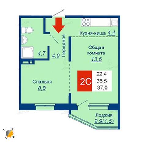 Вариант №2532, 2-комнатная квартира в жилом комплексе Акварельный