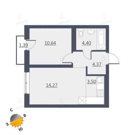 Вариант №1634, 2-комнатная квартира в жилом комплексе Дунаевский