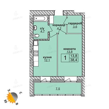 Вариант №1581, 1-комнатная квартира в жилом комплексе