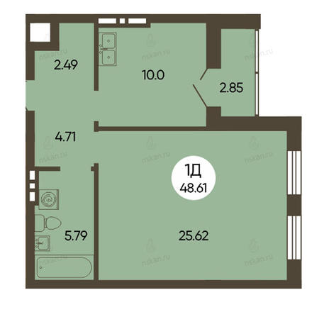 Вариант №2494, 1-комнатная квартира в жилом комплексе