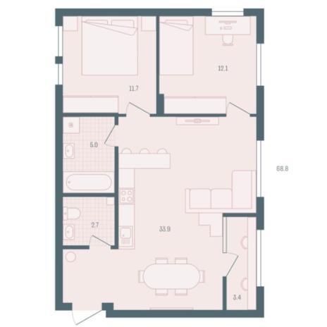 Вариант №5930, 2-комнатная квартира в жилом комплексе