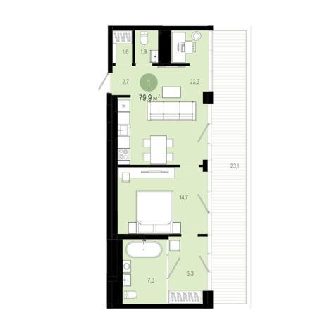 Вариант №6000, 2-комнатная квартира в жилом комплексе
