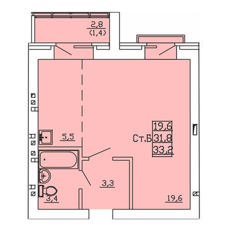 Вариант №4002, 1-комнатная квартира в жилом комплексе