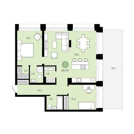 Вариант №6289, 3-комнатная квартира в жилом комплексе