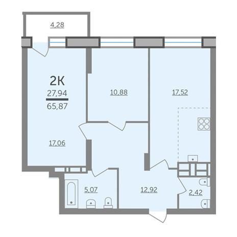 Вариант №2984, 3-комнатная квартира в жилом комплексе