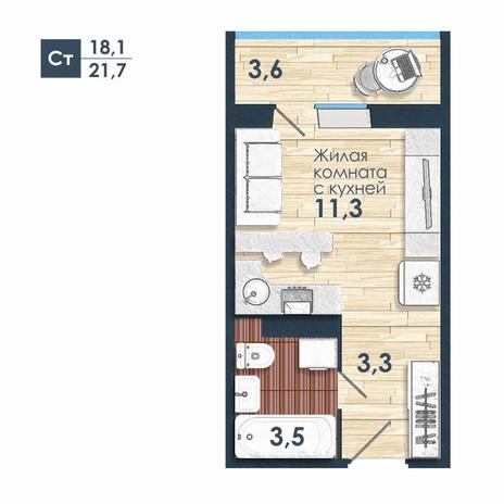 Вариант №5236, 1-комнатная квартира в жилом комплексе