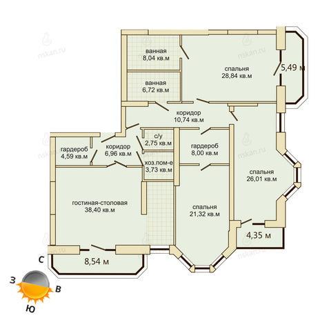Вариант №507, 4-комнатная квартира в жилом комплексе Montblanc