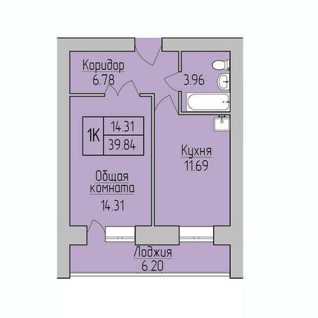 Вариант №3846, 1-комнатная квартира в жилом комплексе