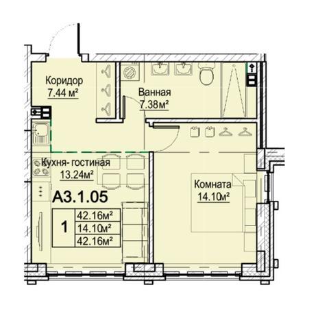 Вариант №5476, 2-комнатная квартира в жилом комплексе