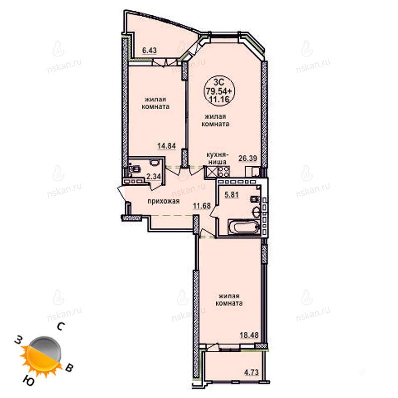 Планировка 3-комн. студия площадью 79.54 м<sup>2</sup> в ЖК Заельцовский