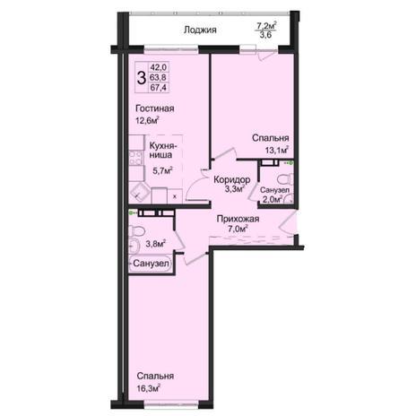 Вариант №5035, 3-комнатная квартира в жилом комплексе