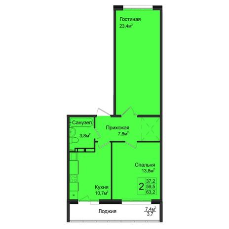 Вариант №5037, 2-комнатная квартира в жилом комплексе